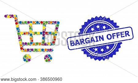 Multicolored Collage Shopping Cart, And Bargain Offer Dirty Rosette Stamp Seal. Blue Stamp Seal Cont
