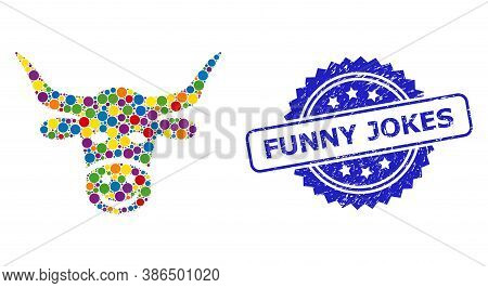 Bright Colored Mosaic Smiled Cow Head, And Funny Jokes Dirty Rosette Stamp Seal. Blue Stamp Seal Con