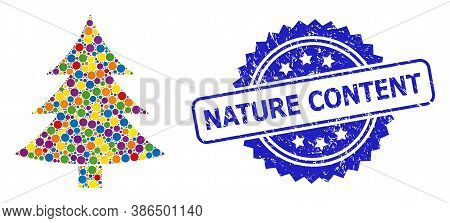 Colorful Mosaic Fir-tree, And Nature Content Rubber Rosette Stamp Seal. Blue Stamp Seal Includes Nat
