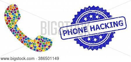 Multicolored Mosaic Phone, And Phone Hacking Scratched Rosette Seal Imitation. Blue Seal Has Phone H