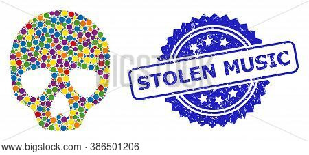 Vibrant Mosaic Skull, And Stolen Music Unclean Rosette Seal Print. Blue Seal Has Stolen Music Text I
