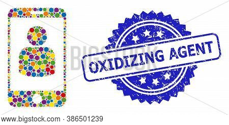 Bright Colored Collage Smartphone User, And Oxidizing Agent Rubber Rosette Stamp Seal. Blue Stamp Se