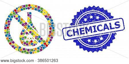 Multicolored Collage Forbidden Chemicals, And Chemicals Dirty Rosette Stamp Seal. Blue Stamp Seal Ha