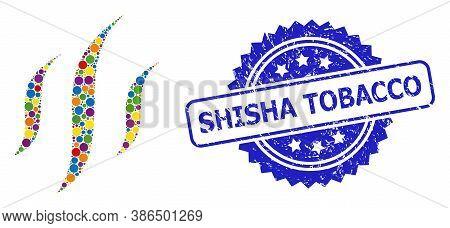 Colored Mosaic Vapor, And Shisha Tobacco Scratched Rosette Seal Print. Blue Seal Includes Shisha Tob