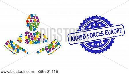 Vibrant Mosaic Butcher Man, And Armed Forces Europe Textured Rosette Stamp Seal. Blue Stamp Seal Inc