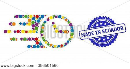 Bright Colored Collage Clock, And Made In Ecuador Dirty Rosette Seal Imitation. Blue Seal Has Made I