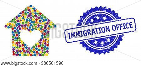 Colored Collage Lovely House, And Immigration Office Textured Rosette Stamp. Blue Stamp Contains Imm