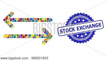 Vibrant Collage Flip Arrows Horizontally, And Stock Exchange Corroded Rosette Seal Print. Blue Seal