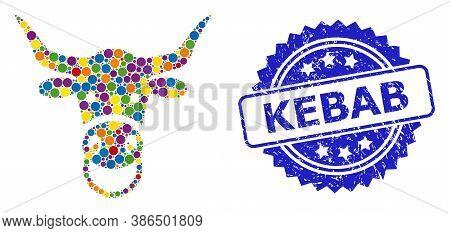 Bright Colored Mosaic Bull Head, And Kebab Textured Rosette Seal Imitation. Blue Seal Has Kebab Text