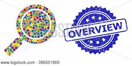 Vibrant Mosaic Search Loupe, And Overview Grunge Rosette Stamp. Blue Stamp Has Overview Caption Insi