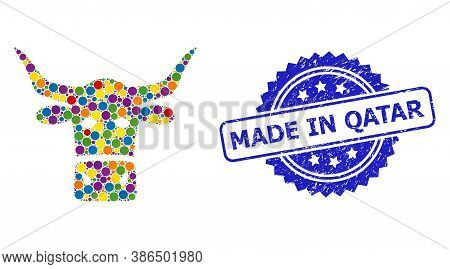 Colorful Collage Livestock Head, And Made In Qatar Unclean Rosette Stamp Seal. Blue Stamp Seal Has M