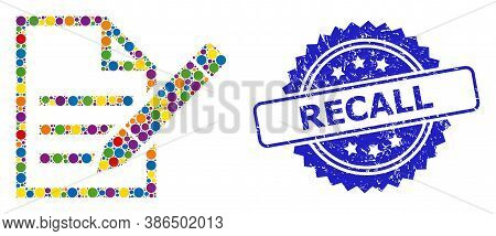 Multicolored Mosaic Edit Text Page, And Recall Scratched Rosette Stamp Seal. Blue Stamp Seal Contain