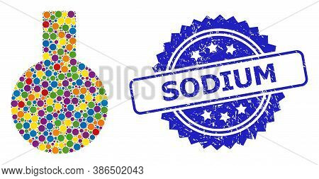 Bright Colored Collage Glass Flask, And Sodium Scratched Rosette Seal Print. Blue Seal Has Sodium Ca