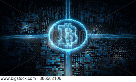 Bitcoin Blockchain Crypto Currency Digital Encryption Network, Money Exchange Technology Background