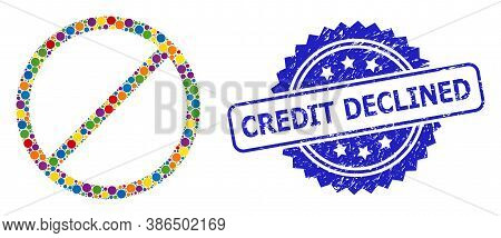 Colored Mosaic Restrict, And Credit Declined Textured Rosette Seal Print. Blue Seal Contains Credit