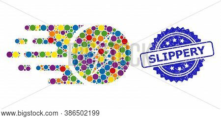 Multicolored Collage Electric Charge, And Slippery Grunge Rosette Stamp Seal. Blue Stamp Seal Has Sl