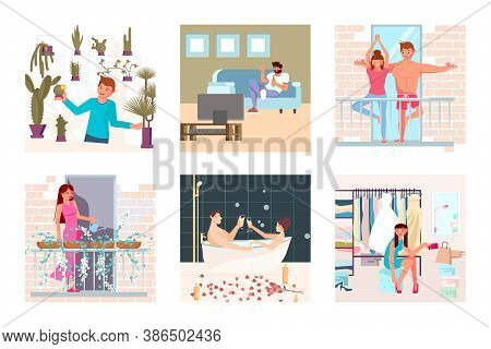 Set Of People Enjoying Their Free Time At Home, Performing Leisure Activities, Exercises, Doing Hobb