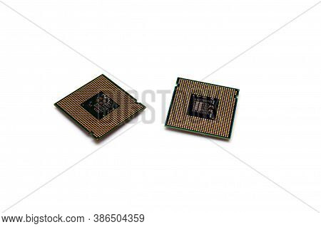 Intel Computer Central Processing Units Isolated On White Background Pins Up Socket 775 Untitled Sel