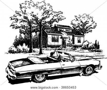 Leisurely Drive - Retro Clipart Illustration