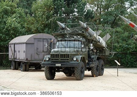 Zsambek, Hungary - Circa 2010: Old Soviet military truck for transporting air defense missiles