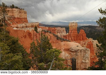 Stormy View From Aqua Canyon Viewpoint In Bryce Canyon National Park, Utah
