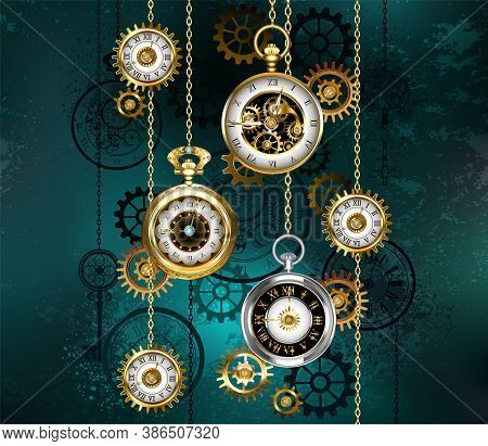 Jewelry, Antique Watches With Gold Chains, Brass Gears And Silhouette Dials On Green Textured Backgr