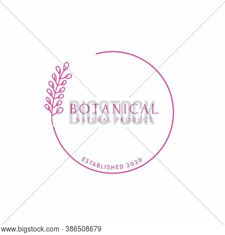Vector Botanical Logo Design Templates In Trendy Line Art Minimal Style. Emblem Or Frame Symbols Lab
