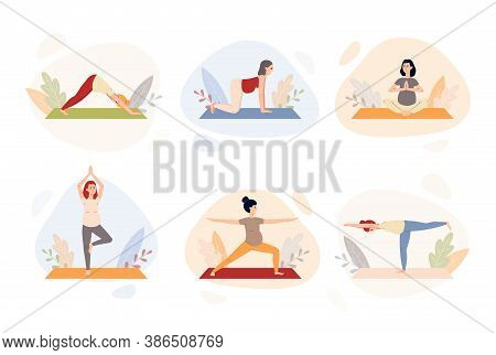 Pregnancy Or Prenatal Yoga Set Of Characters Flat Vector Illustration Isolated.