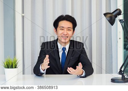 Work From Home, Close Up Face Of Asian Young Businessman Video Conference Call Or Facetime He Lookin