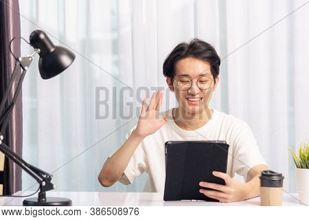 Happy Asian Young Business Handsome Man Work From Home Office Wear Glasses, T-shirt Comfortable He S