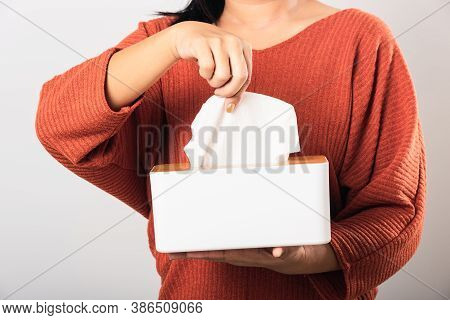 Young Woman Flu She Using Hand Taking Pulling White Facial Tissue Out Of From A White Box For Clean