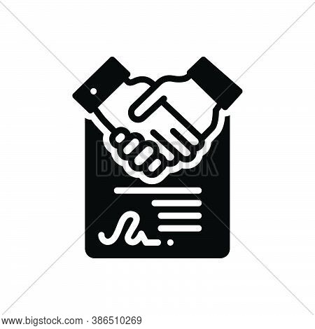 Black Solid Icon For Consensus Agreement Accord Solidarity Settlement Deal Handshake Cooperation Bus