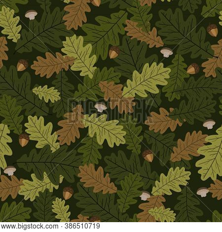 Seamless Background, Pattern Of Oak Leave. Autumn Vector Texture  With Acorns, Mushrooms, Leaves