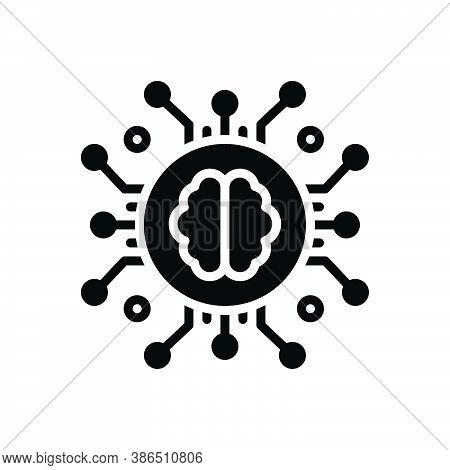 Black Solid Icon For Intelligence Linguistic Machine Brain Intelligent Humanoid Nervous Programming