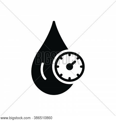 Black Solid Icon For Cholesterol Cardiology Fitness Blood Control Gauge Health Indicator Drop