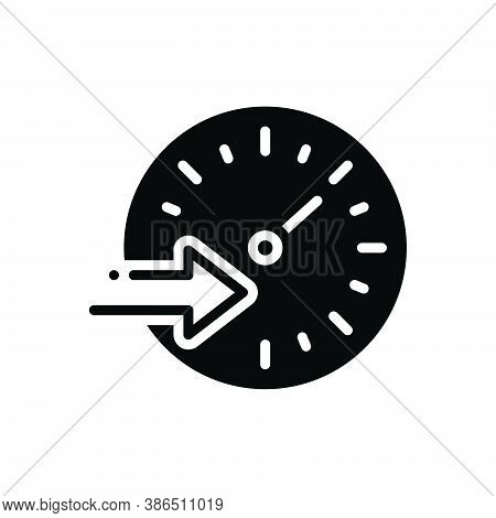 Black Solid Icon For Speed Rate Tempo Pace Motion Rapid Swift Expeditiously Cursorily Hurriedly Quic