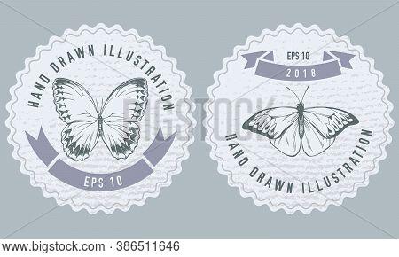 Monochrome Labels Design With Illustration Of Great Orange-tip, Jungle Queens Stock Illustration