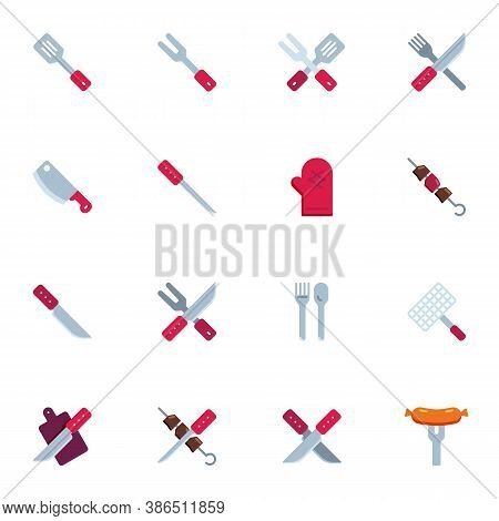Barbeque Tool Collection, Bbq Grill Flat Icons Set, Colorful Symbols Pack Contains - Kitchen Spatula