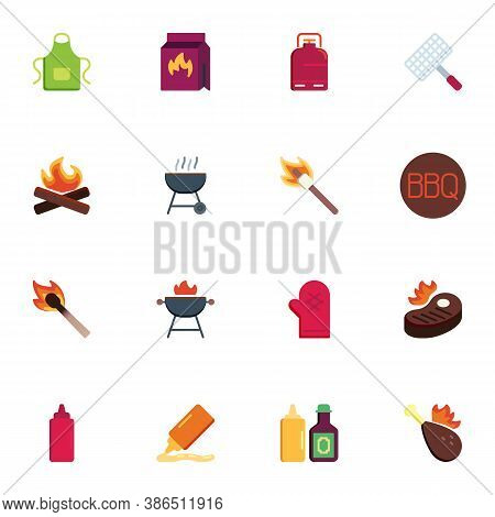 Bbq Tool Collection, Barbeque Related Flat Icons Set, Colorful Symbols Pack Contains - Apron, Charco