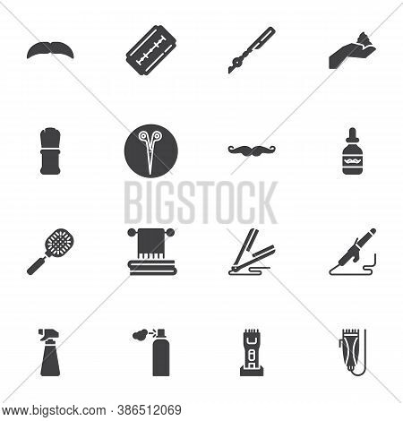 Barber Shop Supplies Vector Icons Set, Modern Solid Symbol Collection, Filled Style Pictogram Pack.