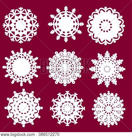 Vector Snowflake Laser Cut Template. Cutout Decoration For Christmas Or New Year. Snowflakes Set. Sn
