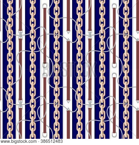 Seamless Pattern With Golden Chains, Belts And Braid For Fabric Design. Fabric Design Seamless Backg
