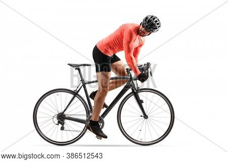 Cyclist with helmet and sunglasses riding a road bicycle and looking backwards isolated on white background