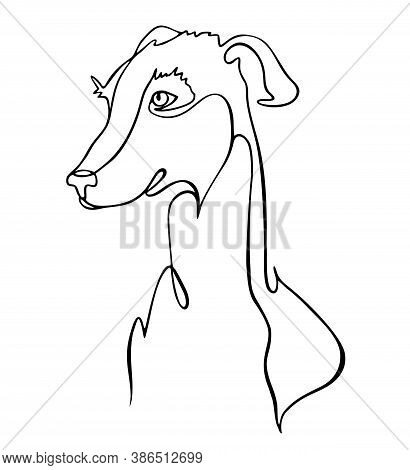 Dog One Line Drawing. One Continuous Line Drawing Of Dog For Company Logo Identity. Abstract Minimal