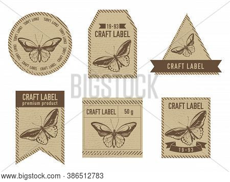 Craft Labels Vintage Design With Illustration Of Common Green Birdwing, Wallace S Golden Birdwing St