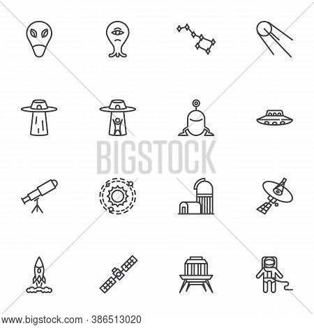Space, Universe Line Icons Set, Outline Vector Symbol Collection, Linear Style Pictogram Pack. Signs