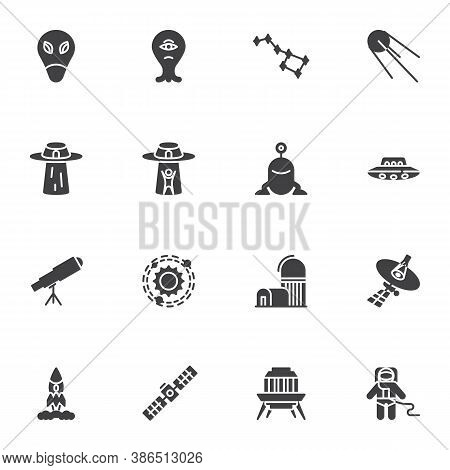 Space, Universe Vector Icons Set, Modern Solid Symbol Collection, Filled Style Pictogram Pack. Signs