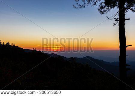Sunrise At Mae Kampong, Ken Fin,viewpoint Of Chiang Mai Thailand