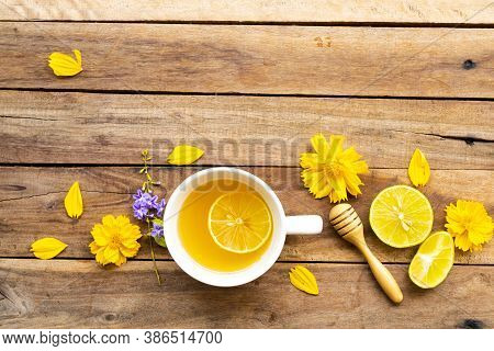 Herbal Healthy Drinks Hot Honey Lemon Health Care For Cough Sore With Lemon Slice ,yellow Flowers Co