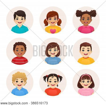 Smiling Kids Boys And Girls Avatar Set Isolated Vector Illustration. Multiethnic Happy Children Face